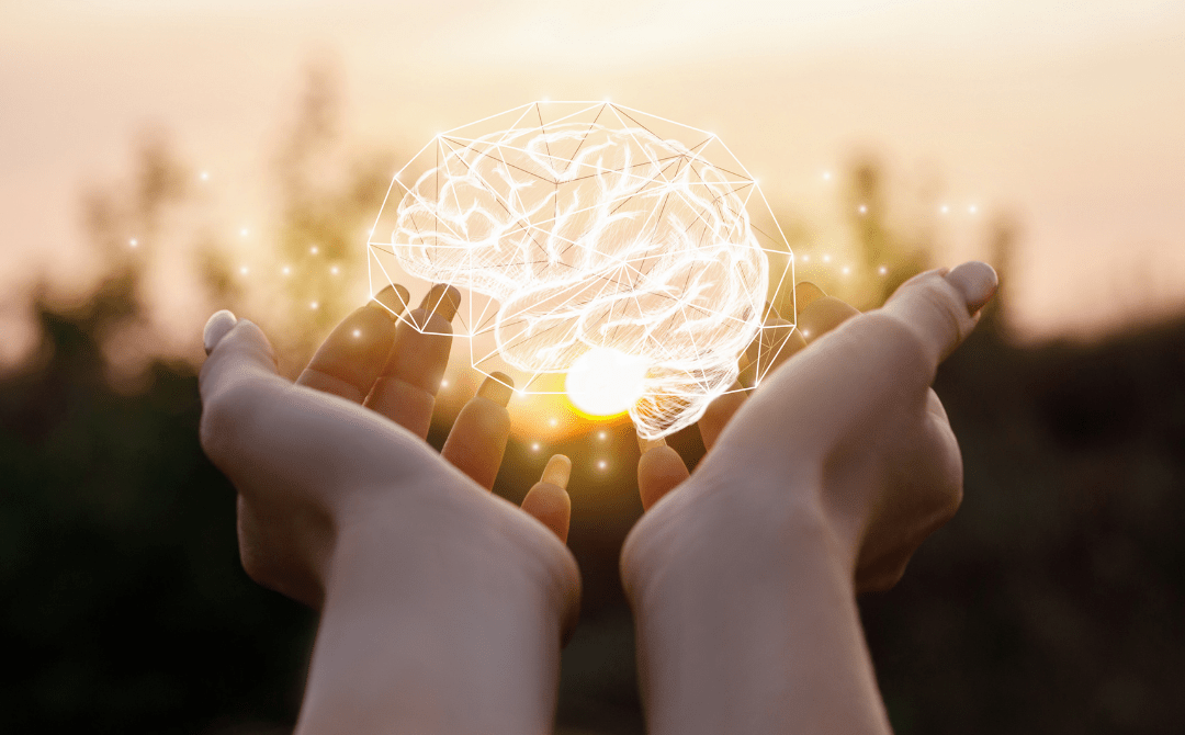 Hands holding illustration of a brain to symbolize EMDR Counseling